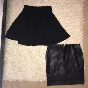 Two Mini Skirts (Skater and Leather)